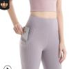 亚马逊新款裸感瑜伽裤女弹力高腰蜜桃臀瑜伽长裤口袋反光条健身裤
