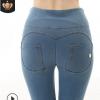 新款运动瑜伽长裤女 高腰牛仔版蜜桃提臀运动裤 美臀健身蜜桃长裤