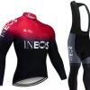 跨境专供INEOS冬季自行车骑行服抓绒长袖套装男女保暖抓绒骑行服