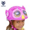 美国raskullz莱斯狐3D粉色猫头鹰儿童头盔男女宝自行车溜冰轮护具
