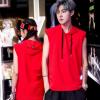 夏季韩版潮流无袖连帽T恤 奥戴尔学生毕业班服T恤连帽定制DIY印图