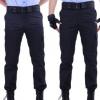 夏季保安作训裤薄款男女酒店物业短袖保安服裤子保安长裤夏裤黑色