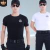 新款夏季短袖T恤黑色作训服物业保安服装批发定制LOGO特勤训练服