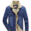 跨境亚马逊速卖通欧美男中青年休闲外套宽松大码加绒牛仔多袋夹克