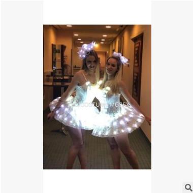 LED芭蕾舞裙,LED发光短裙演出服,激光舞LED表演服