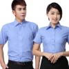 厂家直销定制蓝色厂服衬衫男短袖BB平台批发员工透气衬衣刺绣logo