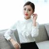 白色衬衫女加绒加厚秋冬长袖2018新款修身职业装立领花边衬衣