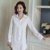 韩版女装性感白衬衫 女中长款大码长袖女装 夏季大码女装