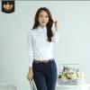 春夏新款白领白色衬衣女长袖韩版职业上衣大码正装女士白衬衫