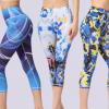 跨境专供新款欧美外贸印花瑜伽裤女士紧身七分裤运动健身裤瑜伽服