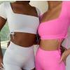 现货!2020夏季欧美爆款绑带新款女装方领短袖露背性感运动套装女