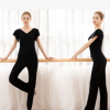 舞蹈练功服女套装专业黑色微喇裤礼仪形体课训练服现代舞批发