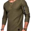 春秋季男士2019年新款纯色圆领长袖T恤 手臂拉链拼接个棉质打底衫
