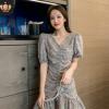 2020夏季新款女装韩版显瘦碎花雪纺连衣裙清新优雅短袖荷叶边裙潮