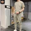 夏季冰丝亚麻休闲套装男士短袖T恤2020新款男装帅气两件一套透气