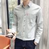 2019春季新款气质男士长袖衬衫有口袋衬衣男装青年纯色上衣服装潮