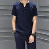 2019夏季清凉棉麻短袖T恤运动套装男式亚麻短裤休闲两件套装男装