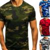 2019夏季潮牌男装爆款男士短袖t恤数码印花迷彩圆领休闲短袖T恤