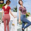 瑜伽服女套装2020新款速干提臀裤跑步运动短袖修身健身房两件套