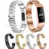 适用于Fitbit charge 3满钻镶钻钢带实心不锈钢表带水钻钢带