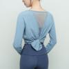 2020春新款网纱宽松瑜伽服健身服女 长袖运动上衣跑步速干透气t恤