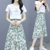 实拍2020夏季新款时尚印花短袖T恤碎花雪纺半身裙两件套连衣裙女
