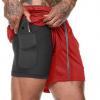 跨境无LOGO双层短裤 迷彩健身裤运动训练速干裤跑步短裤 2合1短裤