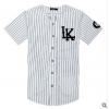 欧美潮牌LK 条纹T恤 嘻哈街头男女款式棒球衫短袖开衫棒球服黑白