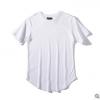 kanye侃爷gd同款纯色打底衫圆弧下摆短袖t恤男女加长款速卖通爆款