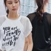 夏季爆款运动瑜伽服健身短袖训练服女健身户外印字速干网孔T恤