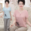 2019新款中老年妈妈装夏装短袖T恤中年女大码两件套棉麻套装