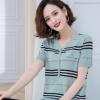 冰丝针织t恤女装2020夏季新款韩版撞色条纹短袖薄款女士T恤上衣潮