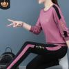 圆领休闲运动服套装女春秋季2020年新款宽松跑步服女装卫衣两件套