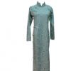 原创定制加工新中式改良旗袍连衣裙棉麻文艺唐装白色衬衫加腰蓝色