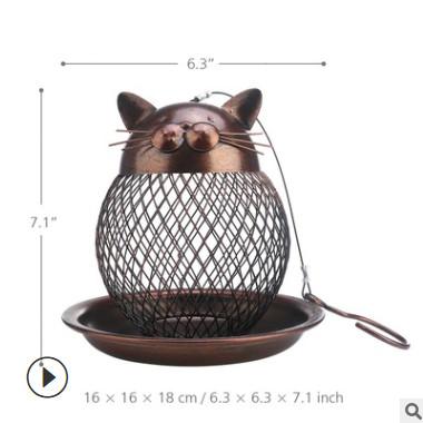 Tooarts创意家居摆件现代金属装饰工艺品礼品 批发复古小猫喂鸟器