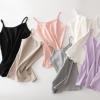 新款螺纹棉质吊带背心女 短款v领外穿小吊带加绒厚内搭大码打底衫