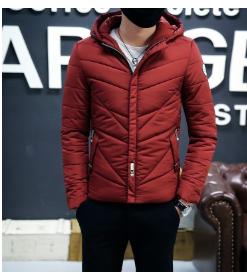 冬保暖红色连帽加厚无领冬季休闲侧缝插袋青年拉链羽绒服