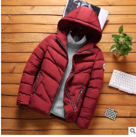 冬连帽保暖休闲红色青少年无领加厚冬季拉链侧缝插袋男装