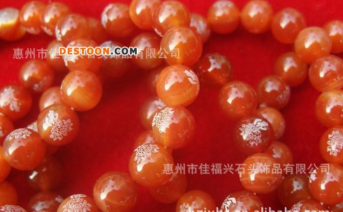 中国风红玛瑙 天然饱满 颜色纯正  精美佛教图案玛瑙手链