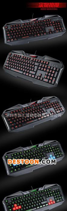 外贸三色背光有线USB台式机笔记本电脑游戏19件不冲键盘
