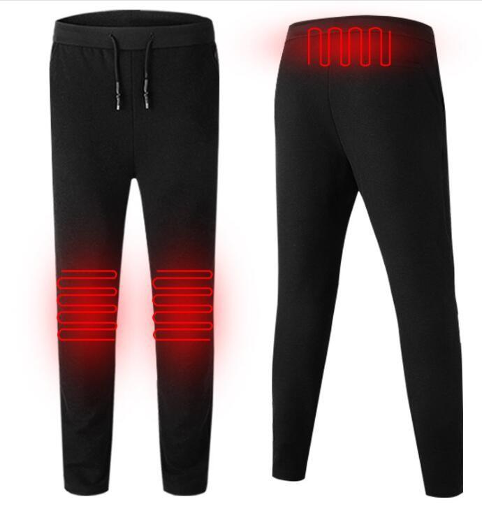 跨境一笔成智能发热裤冬季加厚保暖膝盖加热呢子休闲长裤织带USB