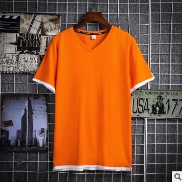 夏季韩版潮流拼色短袖V领T恤 时尚潮男式T恤校园班服定制DIY印图