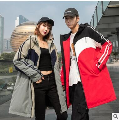 情侣款羽绒服冬季新款嘻哈潮流短款加绒加厚韩版休闲连帽外套