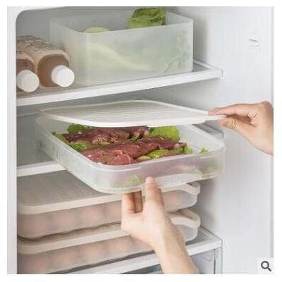 纳川冰箱保鲜食物收纳密封盒批发单层三层带盖塑料透明速冻饺子盒