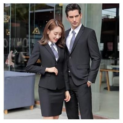 2021新款春季韩版男女同款职业装套装西装女式双扣黑色正装刺绣
