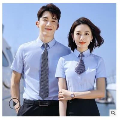细斜纹短袖修身士短袖工作服定制LOGO男女同款衬衫白色衬衫女