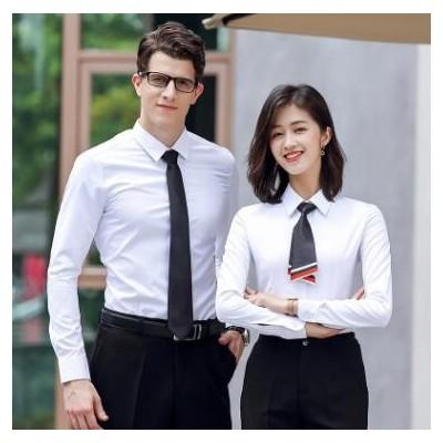 LOGO定制长袖男女同款衬衫斜纹职业装白衬衣银行地产销售职业工装