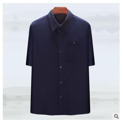 夏季男士中国民族风简约休闲亚麻清凉舒适透气中老年爷爷棉麻衬衫