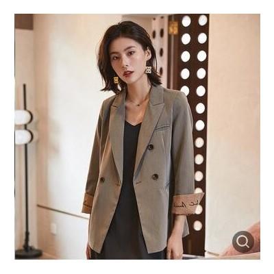 刺绣拼接小西装外套女韩版网红2021春季新款复古港味垂感休闲西服