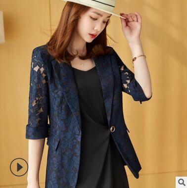 蕾丝小西装女薄款外套立体镂空修身设计感中袖短款女士通勤西服